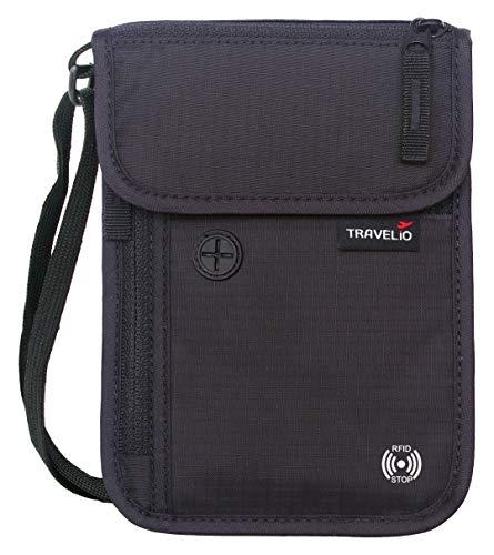 RFIDブロック ネックトラベルウォレット 隠しパスポートホルダーポーチ 男女兼用, RFID財布。, ブラック, O...