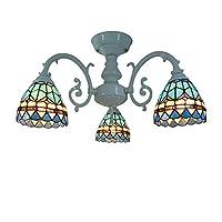 クリエイティブシャンデリアスタイル、ティファニースタイルシャンデリア照明、クリエイティブ地中海マルチアームステンドグラス天井ランプダ