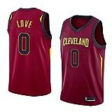 HS-XP Jersey De Baloncesto De Los Hombres - Cavaliers De NBA Cleveland # Kevin Love # 0 Jersey - Camiseta con Cuello En V Transpirable Y Resistente Al Desgaste,Rojo,S(165~170cm)