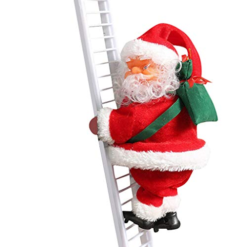 Electric Climbing Ladder Santa Claus, Christmas Super Climbing Santa Plush Doll Toy Hanging Ornament Tree Indoor Outdoor Holiday Party Home Door Wall Decoration