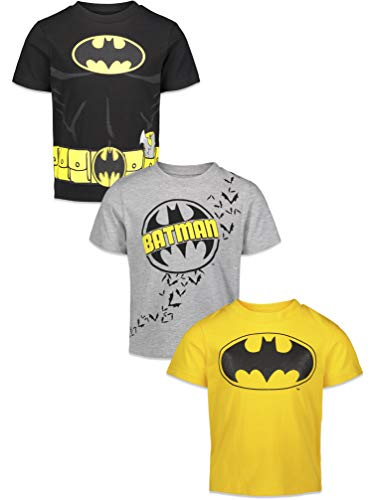 DC Comics Batman Boys Short-Sleeve 3 Pack T-Shirts, Multicolor, 4T