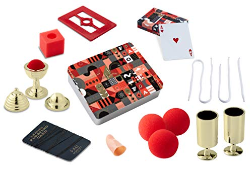 FAO SCHWARZ 8Piece Toy Magic Trick Set For Kids, Easy to Learn Kit Comes with Playing Cards, Floating Card Trick, Fake Fingers, Coin & Ball Cups, & Instruction Book with 40+ Tricks, Gift Tin, Multiple