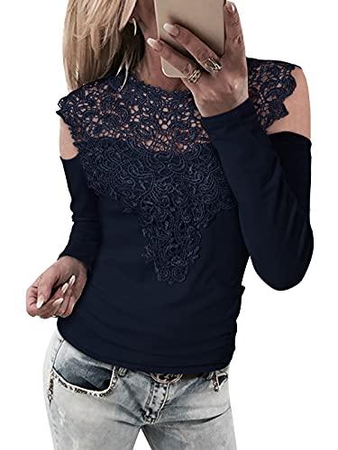 YOINS Las mujeres de hombro frío encaje Tops sexy corte camisas manga larga cuello redondo Blusas, A-azul marino, S