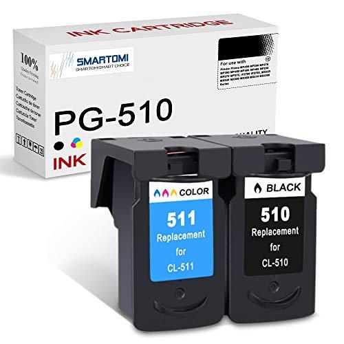 SMARTOMI Remanufacturado PG510 CL511 compatibles con Canon PG-510 CL-511 para Canon Pixma MP495 MP250 MP270 MP280 MP480 MP490 MP499 MP230 MP270 MP272 iP2700 MX320 MX340 MX350 (1 Negro 1 Tricolor)