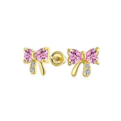 Kleine Zirkonia Rosa Simulierten Rosa Turmalin CZ Schleife Ohrstecker Echte 14K Gelb Gold Screwback