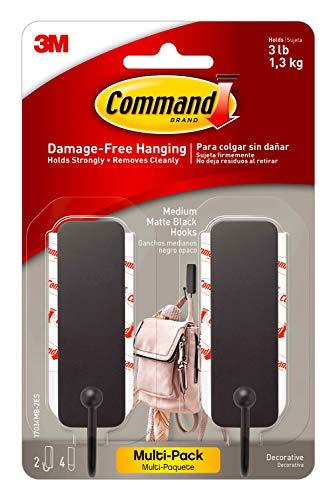 Command Medium Matte Black Decorative Hook, 2-Hooks, 4-Strips Per Pack, Decorate Damage-Free