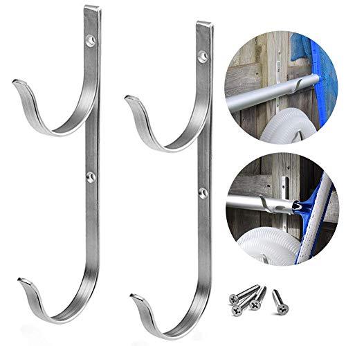 dream-cool 2pcs Teleskopstange Haken - Tragbare Aluminiumlegierung Pole Hanger für Pool Skimmer, Vakuum-Schläuche, Rechen, Netze, Bürsten und Gartengeräte, Mehrzweck-Wandhalterung Haken