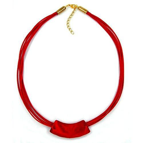 Unbespielt Modeschmuck Damen Halskette Kette Collier Rohr flach gebogen Koralle Länge 45 cm