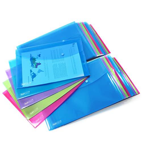 RAPESCO 1495 Cartelle a Busta Portadocumenti - A4+ Protocollo - Trasparente - Pacco da 50