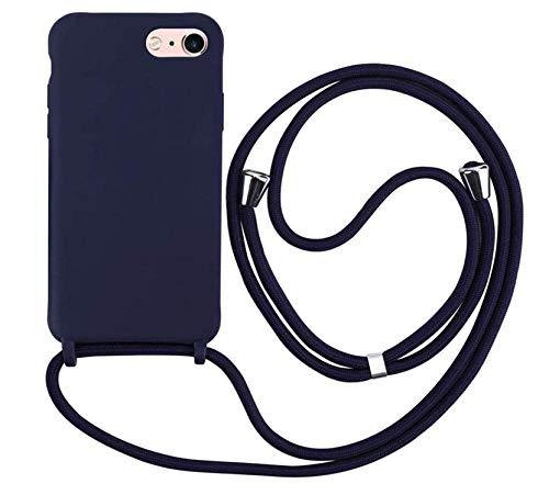 MEIVS Funda Compatible con iPhone 6/6S/7/8, Ajustable Collar Correa de Cuello CordónCarcasa de Silicona-Azul Oscuro