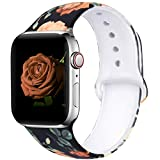 EXCHAR Compatible with App le Watch Band 40mm 38mm Fadeless Pattern Printed Floral Bands Silicone Replacement Band for iWatch Series 5 Series 4/3/2/1 for Women Men S/M Flower J08
