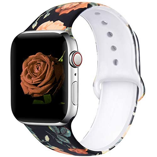EXCHAR Compatible with Apple Watch Band 40mm 38mm Fadeless Pattern Printed Floral Bands Silicone Replacement Band for iWatch Series 5 Series 4/3/2/1 for Women Men S/M Flower J08