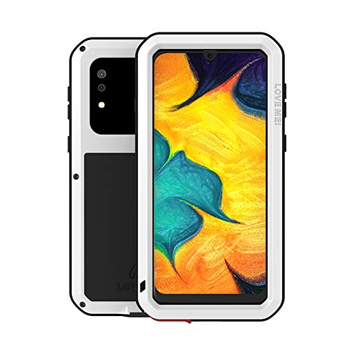 LOVE MEI Compatible for Samsung Galaxy A20/Galaxy A30 Case,Aluminum Metal Gorilla Glass Waterproof Shockproof Military Heavy Duty Sturdy Protector Cover Hard Case for Galaxy A20/Galaxy A30(White)
