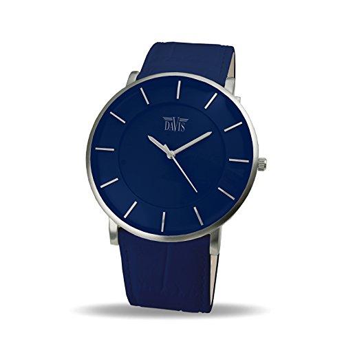 Davis – 0915- Reloj Diseño Unisex Azul-Cuarzo-Cuadrante Extra Plano-Correa de Piel Azul