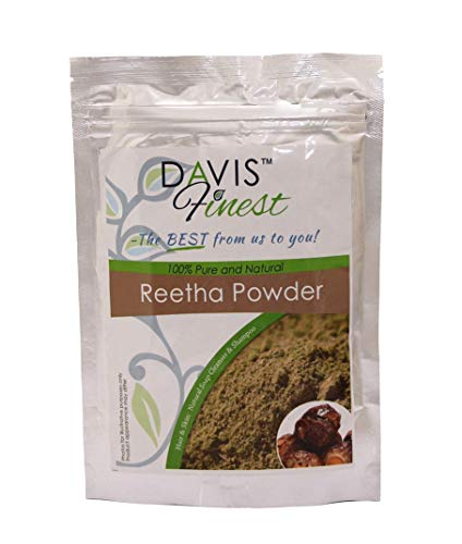 Davis Finest Reetha Aritha Soap Nut Powder for Hair, Dry Scalp & Skin, Deep Cleansing Shampoo Conditioner Vegan Hair Mask, No SLS, Pure Natural Soap-Free Cleanser, Head Lice Treatment 100g