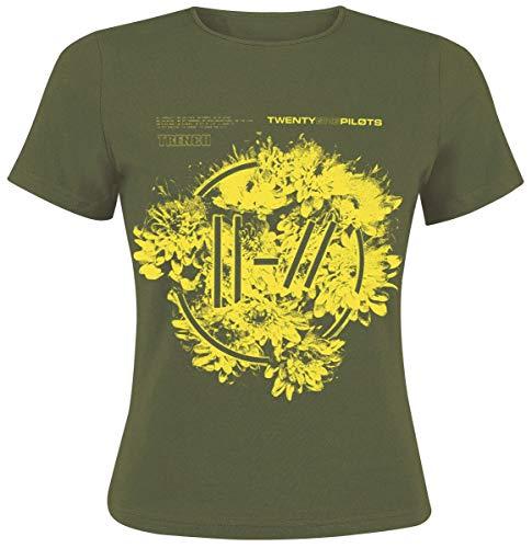 Twenty One Pilots Flower Circle Logo Mujer Camiseta Verde S, 100% algodón, Regular