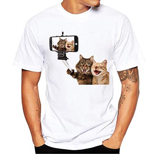 Celucke Weiße T-Shirt Herren Kurzarm Stretch Rundhalsausschnitt Basic Tops aus Bio-Baumwolle mit Moderne Print, Männer Short Sleeve Top Tee Casual Coole O-Neck Kurzarmshirt Slim Fit