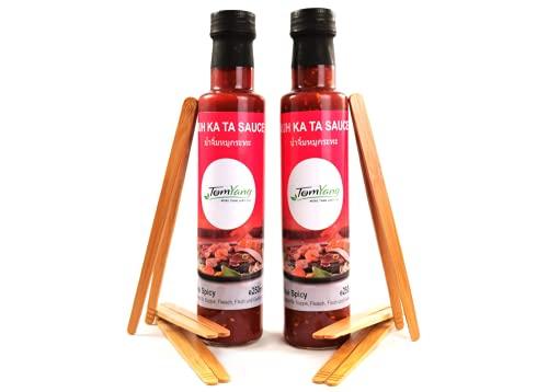 TomYang Saucen & Zangen Set mit 2 Flaschen Muh Ka Ta Sauce & 6 Zangen aus Bambus