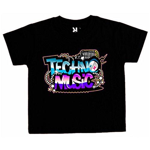 Camiseta niño Techno Music - Negro, 12-18 meses