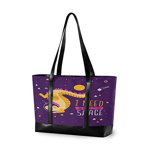 Cute Cartoon Dinosaur Space Women Canvas Handbags Shoulder Tote Bag Top Handle Satchel Large Capacity Bags Laptop bag Tablet bag(14.6×5.1×11.8 in)