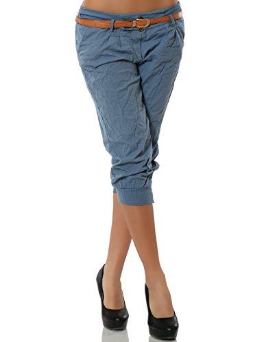Damen Chino Capri Hose Kurze Sommer Stoffhose inkl. Gürtel DA 13235 Größe XL / 42 Farbe Pastellblau