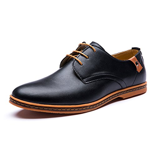 Seakee Men's Leisure Lace-up Flat Oxford Dress Shoes Black US 10.5