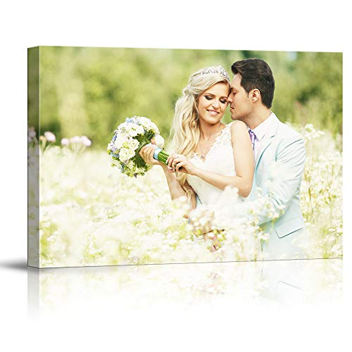 SIGNFORD Custom Canvas Prints, Beloved Couple Personalized Poster Wall Art with Your Photos Wood Frame Digitally Printed - 12' x 18'