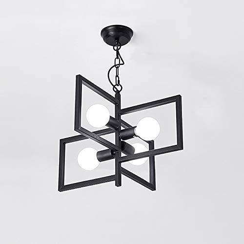 GLJXG Plafonnier Lustre, Nordic Iron Art Pastoral Chambre Étude Cafe Lustre Lumière pendante (Couleur : Noir, Taille : Lumière Blanche)