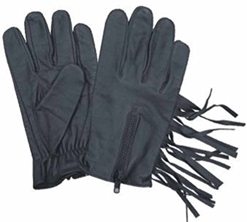 Allstate Leather Black Leather Driving Gloves with Fringes and Zippered Back L Black