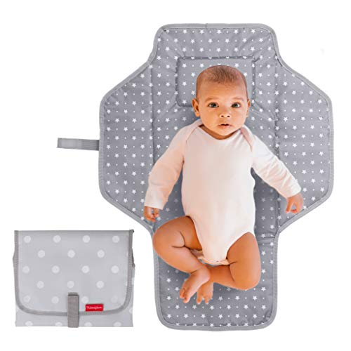 Portable Changing Pad Travel Kit - Baby Lightweight Waterproof Infant Compact Clutch Foldable Mat with Built-in Cushion Easy to Clean with Wipes - Perfect Baby Shower Gift