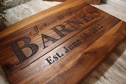 Anniversary Gifts For her - Wedding Gift for couple or bride. Personalized Cutting Board, Anniversary gifts for Men, Gift for her, Present For bride and groom (Last Minute Wedding Anniversary Gifts For Her)