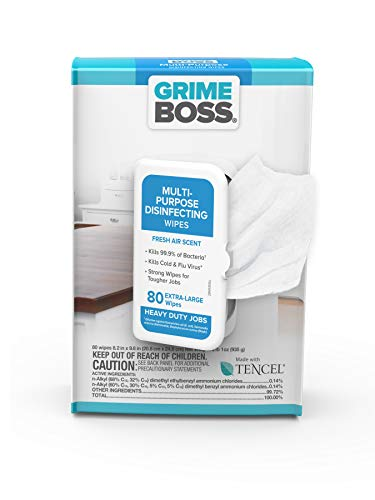 Grime Boss All-Purpose Disinfectant Wipes (80 Total Wipes) | Cleans & Disinfects Surfaces, Electronics, Counters & More | Kills Cold & Flu Virus | Fresh Air Scent