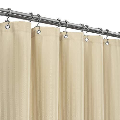 Duschvorhang aus Stoff, Fischgrätenmuster, gestreift, Hotelqualität, maschinenwaschbar, wasserabweisend, 160 g/m², schwer, Standardgröße 71 x 72 cm, sandfarben