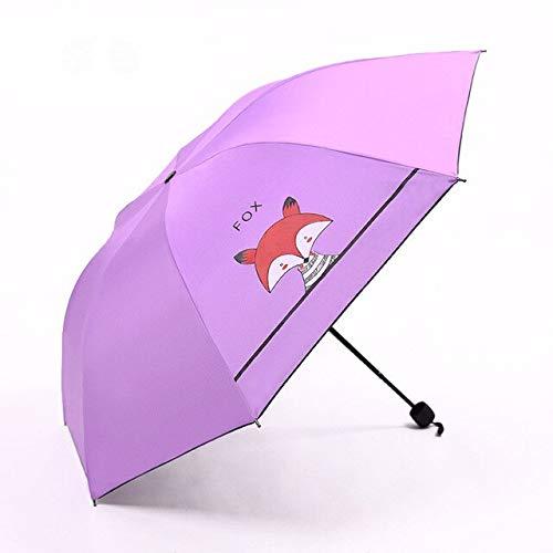 BDWS Paraguas Creativo 3ParaguasPlegables paraniños Lindo pequeño Zorro Parasol Protector Solar Abrigo Negro Regalos para niños niñas ParaguasVioleta
