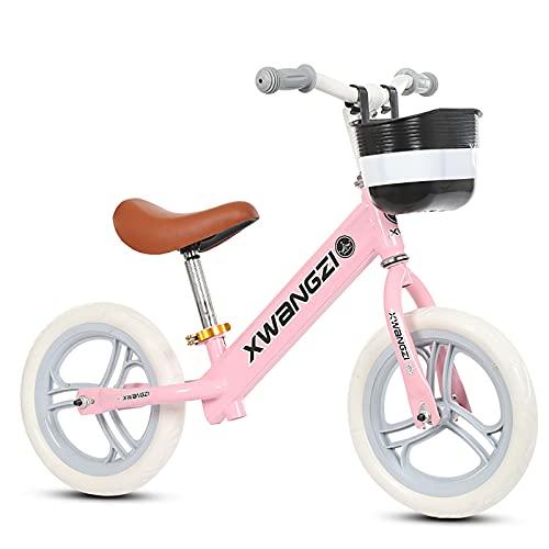Bicicleta de equilibrio de 12 'Bicicleta de entrenamiento para niños pequeños durante 18 meses 2 3 4 niños niños livianos sin pedal de bicicleta con asiento ajustable y neumático sin aire,Rosado