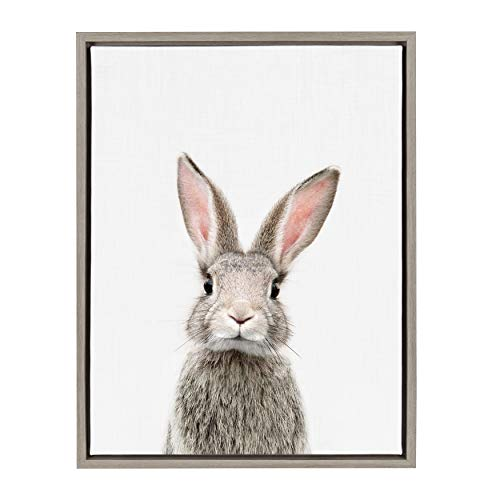 Kate and Laurel Sylvie Female Baby Bunny Rabbit Animal Print Portrait Framed Canvas Wall Art by Amy Peterson, 18x24 Gray