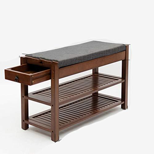 HEMFV Simplifique el banco de almacenamiento, Estante de zapatos de madera maciza Sala de estar Estante de almacenamiento de dormitorio con organizador Estante de zapatos tapizado Entrada Entrada Esta