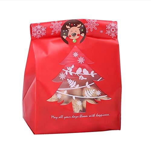 EVENN 50 bolsas de regalo para árbol de Navidad, diseño de copo de nieve, para hornear, cajas de caramelos, decoraciones de Navidad para el hogar, 50 unidades, color rojo