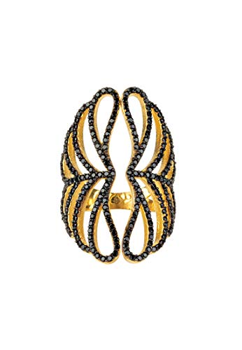 LATELITA Marie Filigree Cocktail Ring Black Gold Q (US Size 8)