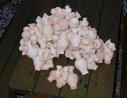 5 Mini - Amphoren aus Terracotta Terrakotta von 4-8 cm sortiert Krüge Vasen