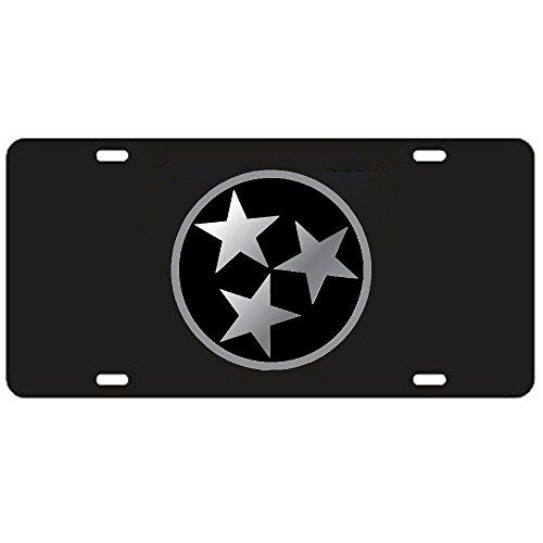 Tennessee Volunteers Black Tri-Star Laser Cut License Plate - Mirrored Logo