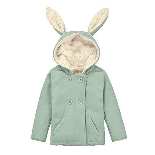 CuteOn Bébé Filles Garçons Manteau Hiver Chaud Encapuchonné Toison Veste Lapin Bambin Vêtements Vert 2-3 Années