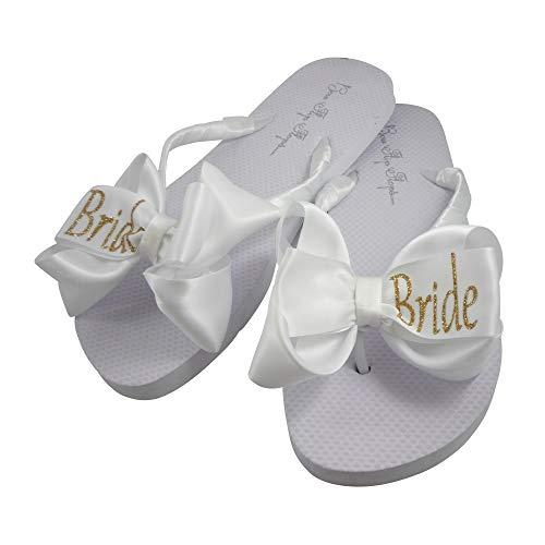 Bow Flip Flops Mit Gold & Weiß Braut Glitzer für weiße flache Hochzeit Sandalen, Weiá (weiß), 36 EU