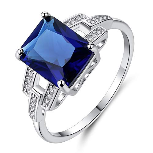 Cestbon 6.64Ct Damen Grün Simulierte Nano Smaragd Rubin Saphir Ringe Silberring 925 Sterling Silber,Blau,8