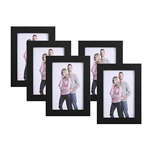 SONGMICS Juego de 5 Marcos de Fotos 10 x 15 cm, Portafotos de Madera, Vidrio Frontal, Regalo, Tablero de MDF Negro RPF35BK