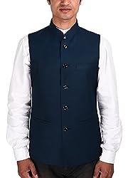 La Rainbow Mens Cotton Bandhgala Modi Jacket/Waistcoat-Navy Blue