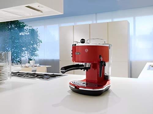 De'Longhi Icona Eco 311.R Macchina da Caffè Espresso Manuale, Caffè in Polvere o in Cialde E.S.E., 1100 W, 15 bar, Rosso