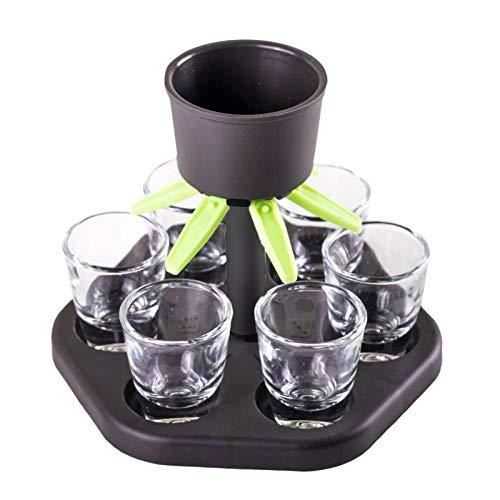 Clevoers Distributeur de Boissons avec Support, 6 distributeurs de Verre à Liqueur et Support, Distributeur de Liqueur de Cocktail Distributeur de Whisky avec 6 Tasses en Plastique