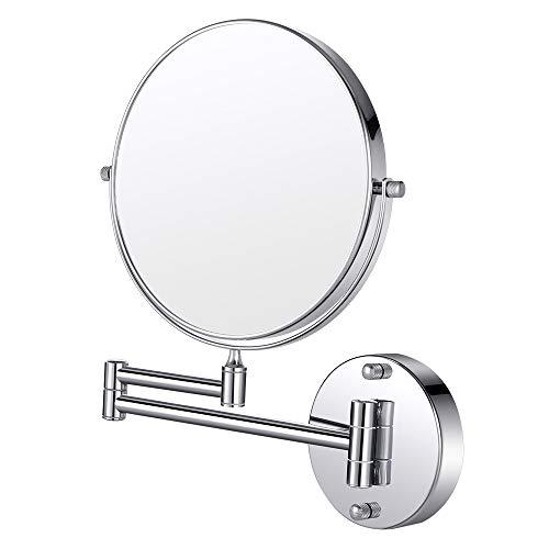 Cozzine Espejo de Maquillaje, Espejo de Baño, Espejo de Aumento de Pared10 x/1, Doble Cara, Montado en la Pared (Giratorio, Extensible y Acabado Cromado para Baño, SPA, Hotel, Etc)