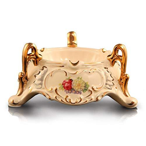 WSJF Cigarrillos Cenicero for Interiores o Exteriores de cenicero Pintado a Mano de cerámica Europea Cenicero Personalidad Creativa Oro de la Manera Cenicero Regalo